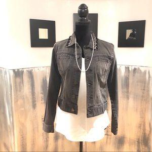 CAbi Black Denim Jacket With Bead Detail Sz S